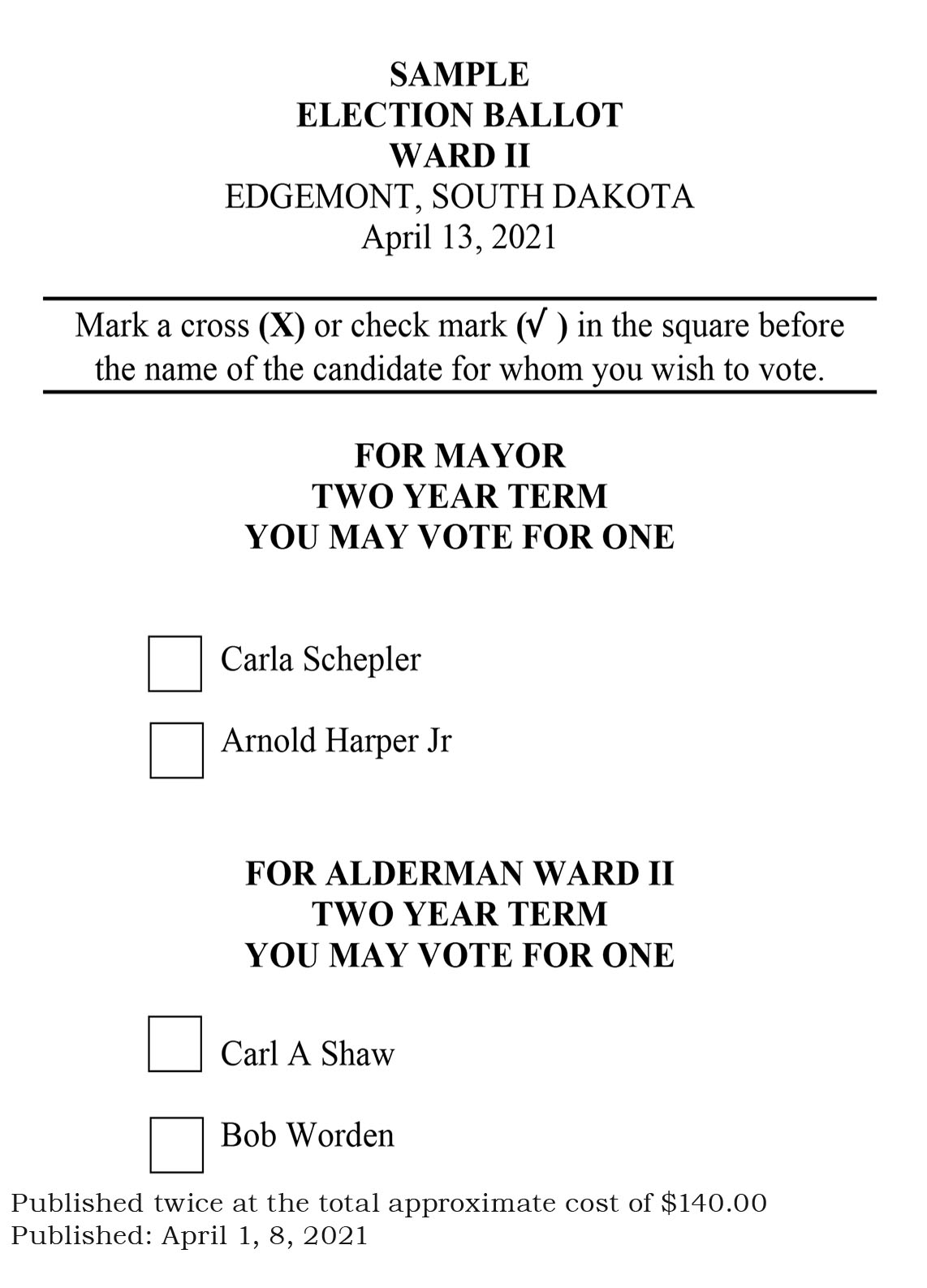 City of Edgemont Sample Ballot Ward II