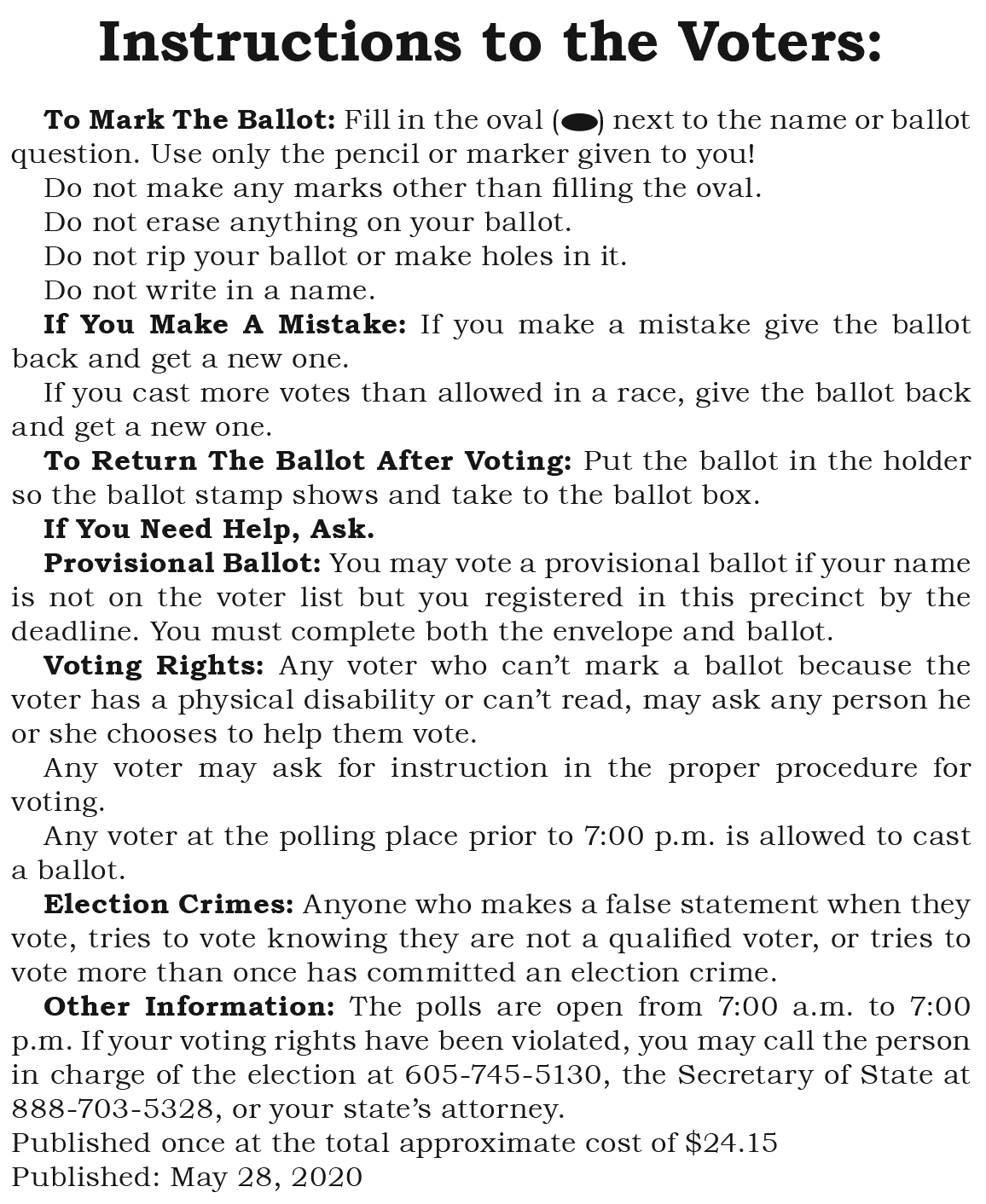Instructions to Voters Fall River Co