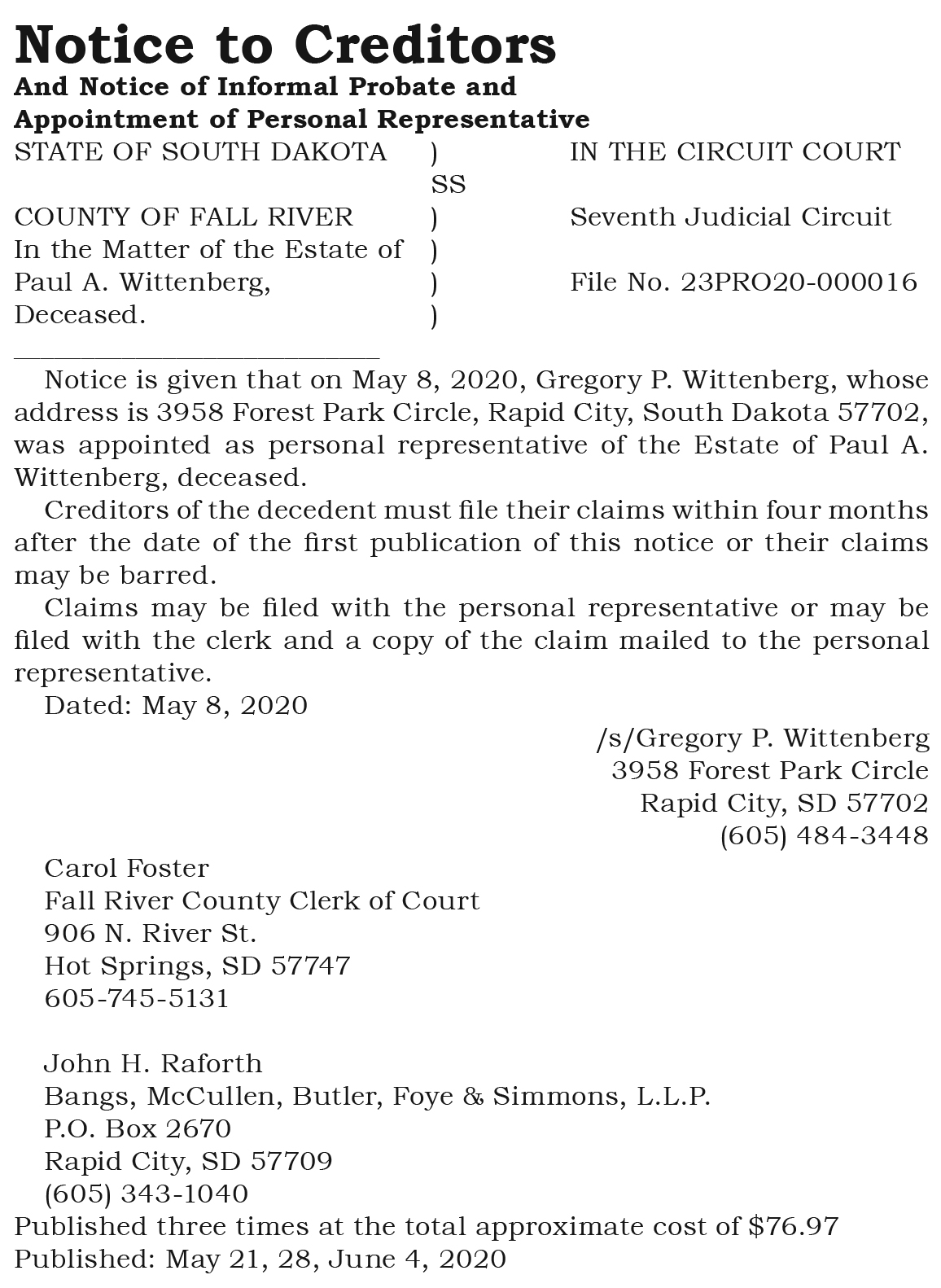 Notice to Creditors Wittenberg
